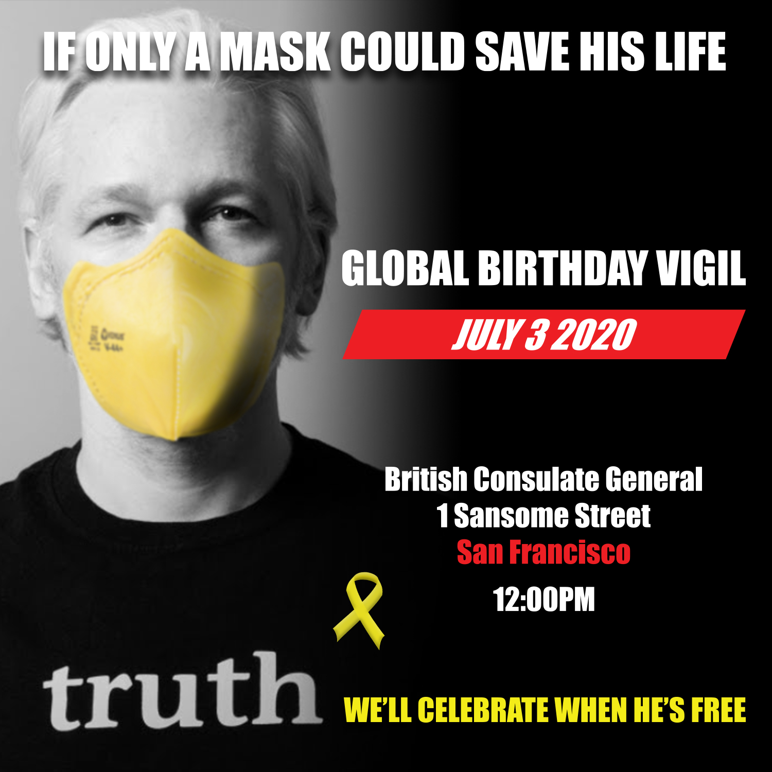 Julian Assange - Global Birthday Vigil @ British Consulate